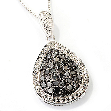 126-359 - Diamond Treasures Sterling Silver 0.50ctw Black Diamond Teardrop Pendant