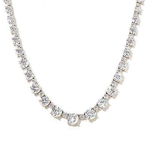 126-365 - Charlie Lapson® Platinum Embraced™ Graduated Simulated Diamond Tennis Necklace