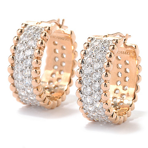 126-368 - Sonia Bitton 2.34 DEW Pave Set Simulated Diamond Beaded Huggie Hoop Earrings