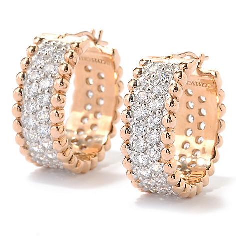 126-368 - Sonia Bitton 2.34 DEW Pave Set Simulated Diamond Beaded Huggie Hoop Earrings