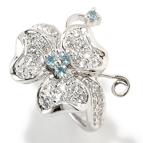 126-385 - Gem Insider Sterling Silver 0.75ctw Blue & White Topaz Clover Ring