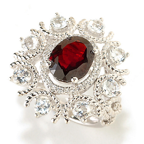 126-389 - Gem Insider Sterling Silver 5.15ctw Red Garnet & White Topaz Ring
