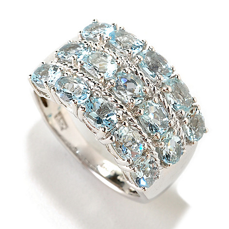 126-398 - Gem Treasures Sterling Silver 2.18ctw Aquamarine Three-Row Ring