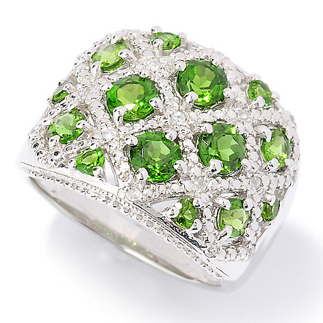 126-405 - Gem Treasures Sterling Silver 2.12ctw Chrome Diopside & White Zircon Ring