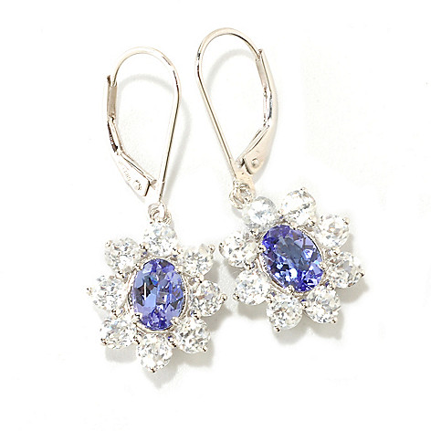 126-408 - Gem Treasures Sterling Silver 5.58ctw Tanzanite & White Zircon Star Earrings