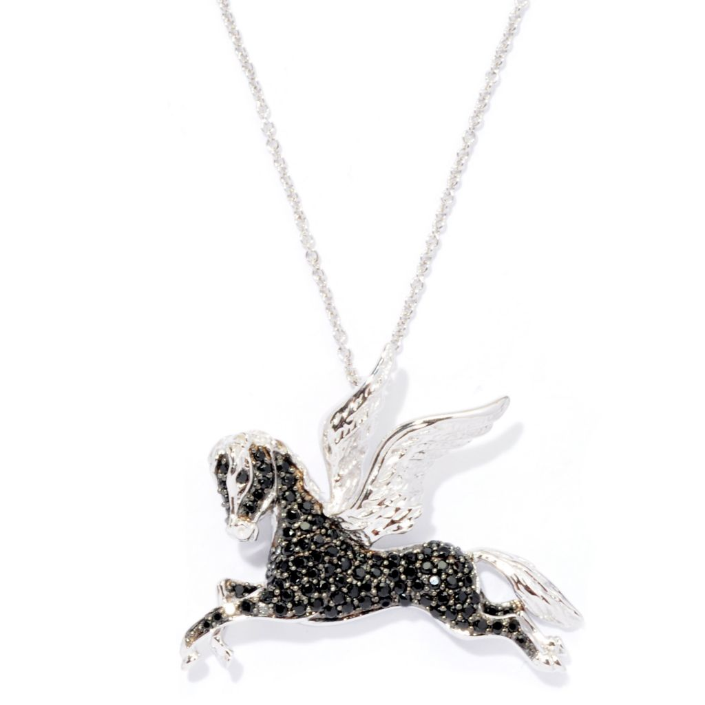 "126-409 - Gem Treasures Sterling Silver 1.33ctw Spinel ""Pegasus"" Pendant w/ 18"" Chain"