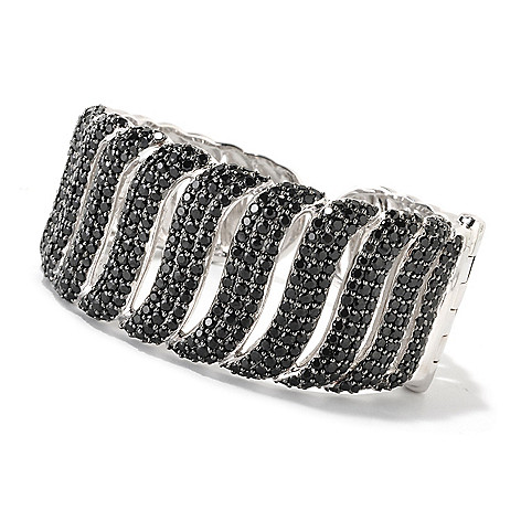 126-410 - Gem Treasures Sterling Silver 6'' Black Spinel Hinged Cuff Bracelet