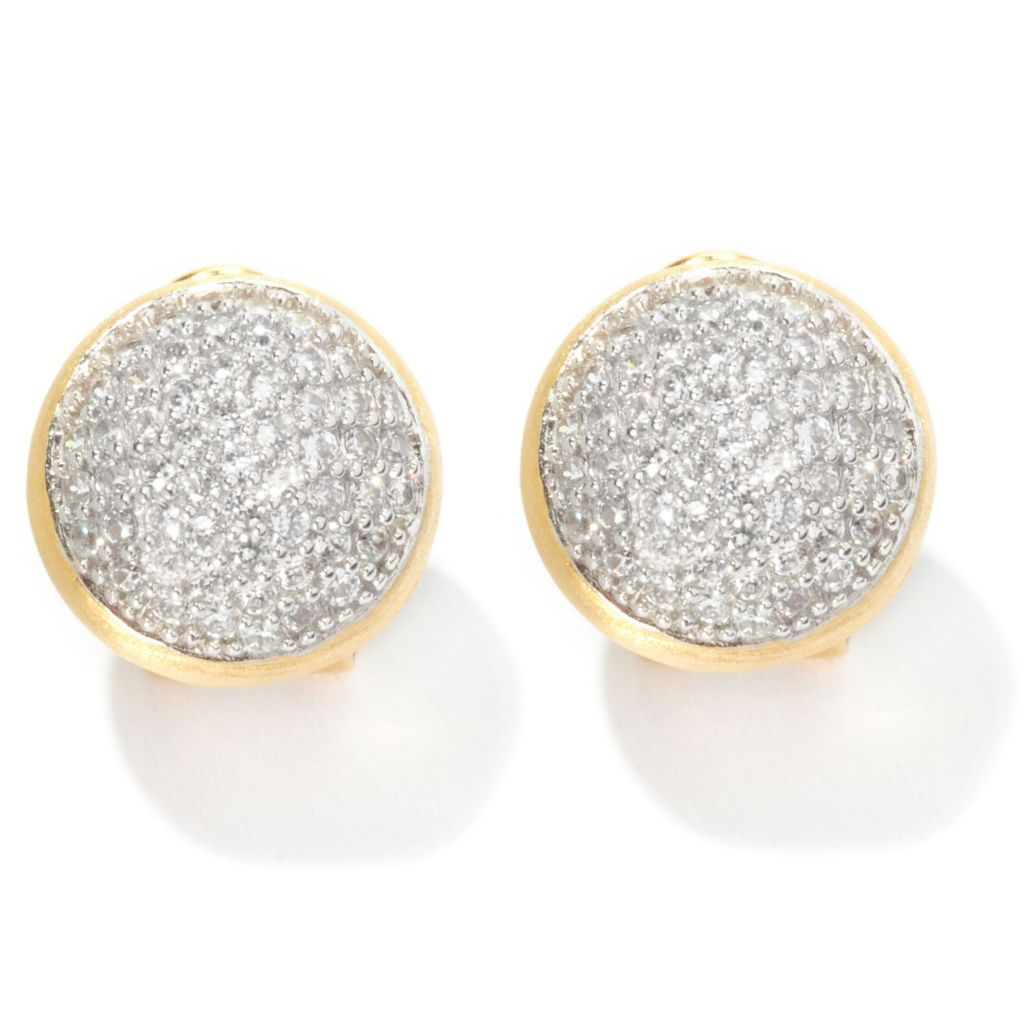126-420 - Sonia Bitton 2.20 DEW Pave Set Simulated Diamond Button Earrings w/ Omega Backs