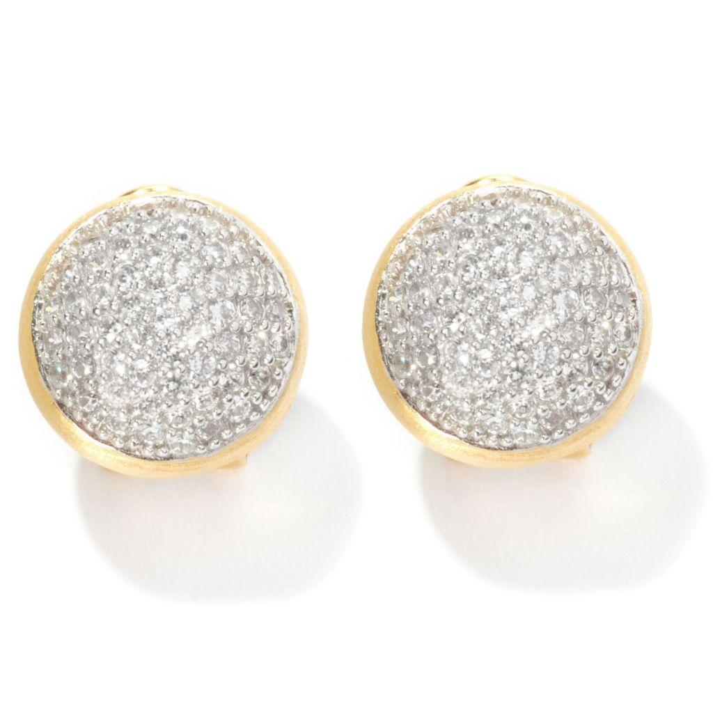 126-420 - Sonia Bitton 2.20 DEW Pave Set Simulated Diamond Button Earrings w/ Omega Backs