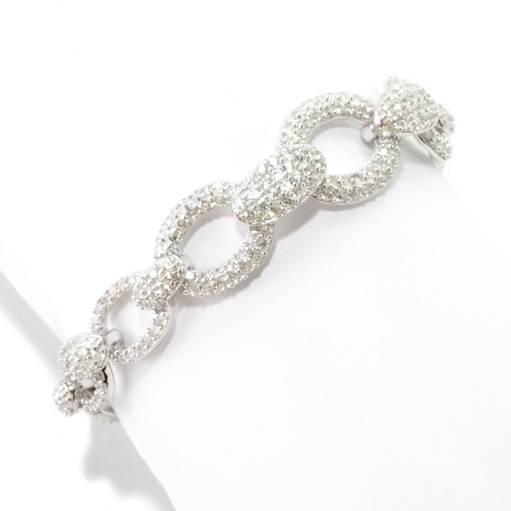 126-427 - Charlie Lapson® Polished Pave Set Simulated Diamond Link Bracelet