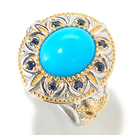 126-452 - Gems en Vogue II 12 x 10mm Sleeping Beauty Turquoise Oval Ring