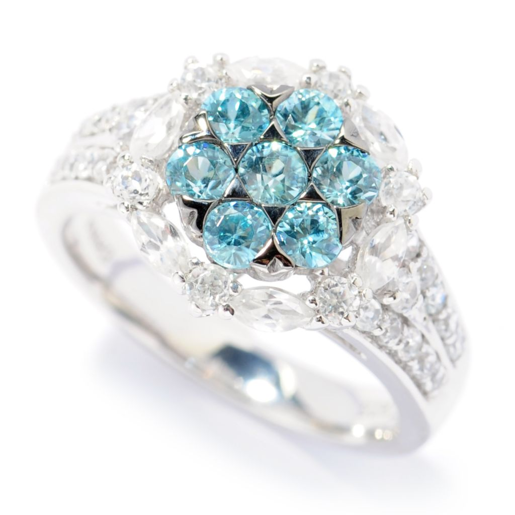 126-466 - Gem Treasures Sterling Silver 2.17ctw White & Fancy Color Zircon Halo Ring