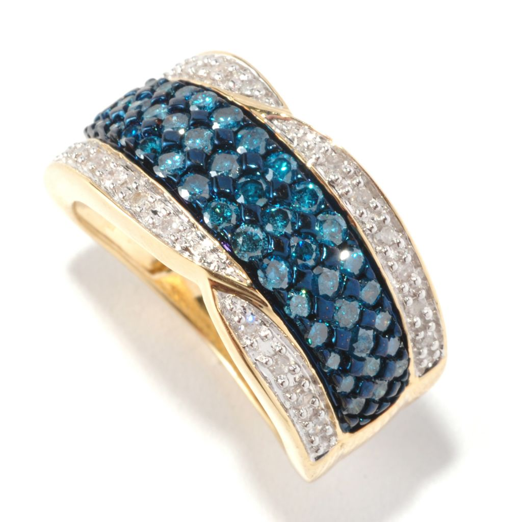 126-467 - Diamond Treasures 14K Gold 1.00ctw Blue & White Diamond Ring