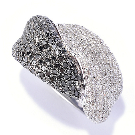 126-474 - Diamond Treasures® Sterling Silver 1.75ctw Black & White Diamond Intertwined Ring