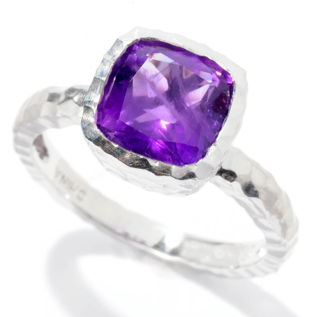 126-475 - Gem Insider Sterling Silver 1.76ctw Cushion Cut Gemstone Ring