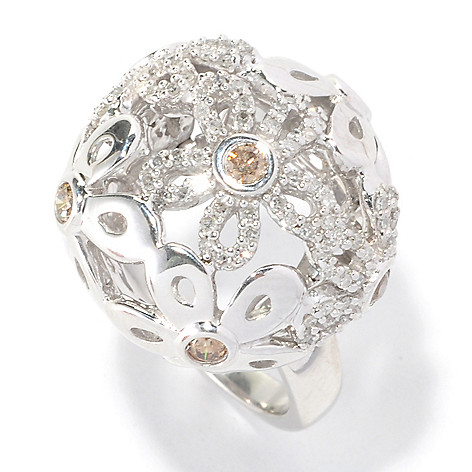 126-477 - Diamond Treasures Sterling Silver 0.75ctw White & Champagne Diamond Domed Floral Ring