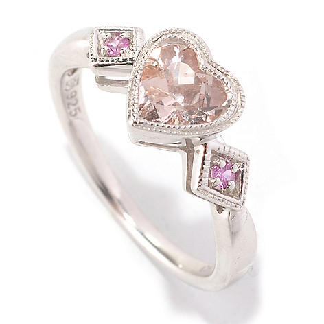 126-480 - Gem Insider Sterling Silver Heart Shaped Morganite & Sapphire Ring