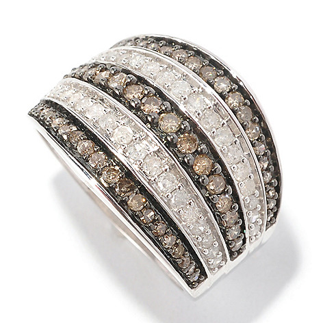 126-494 - Diamond Treasures Sterling Silver 1.00ctw Champagne & White Diamond Wide Band Ring