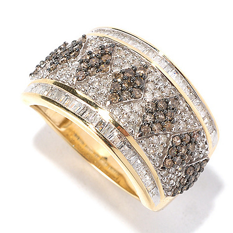 126-495 - Diamond Treasures 14K Gold 1.00ctw Champagne & White Diamond Wide Band Ring