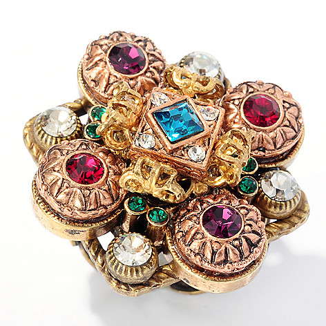 126-515 - Sweet Romance™ Gold-tone Multi Color Crystal Filigreed Ring
