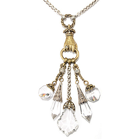 126-528 - Sweet Romance™ Two-tone 25'' 1930s Inspired Crystal Dangles Necklace