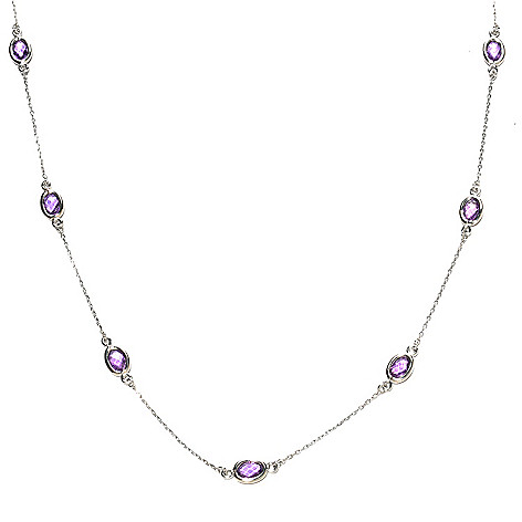 126-556 - Gem Treasures Sterling Silver Oval Gemstone Station Necklace