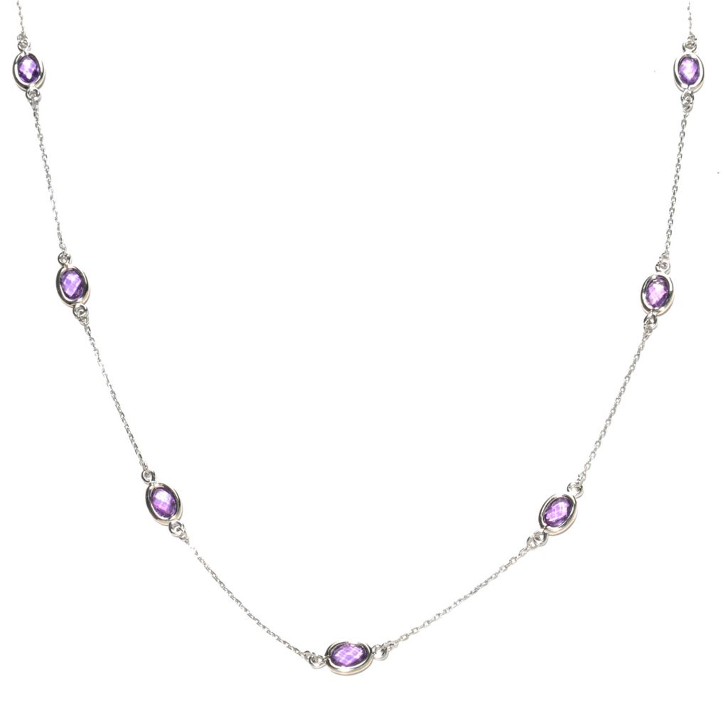 126-556 - Gem Treasures Sterling Silver Oval Black Spinel Station Necklace