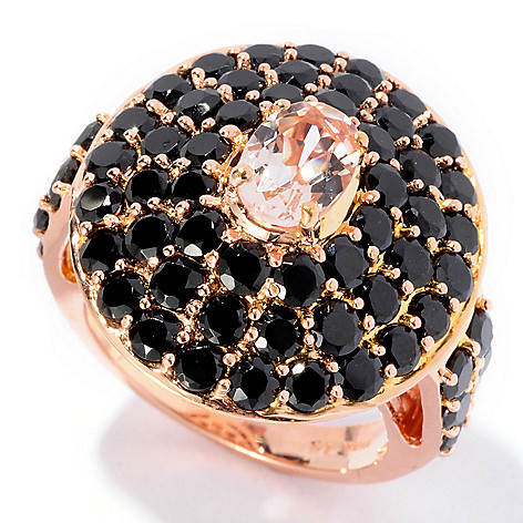 126-562 - NYC II™ 4.96ctw Morganite & Black Spinel Ring