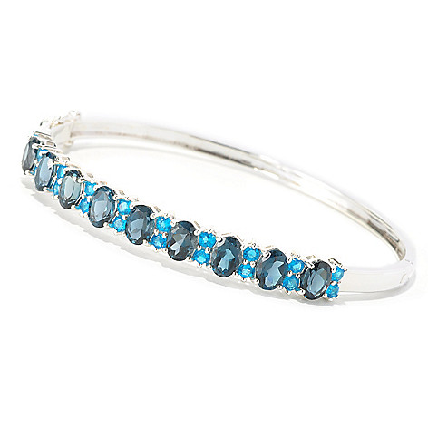 126-569 - NYC II™ 9.03ctw London Blue Topaz & Neon Apatite Bangle Bracelet