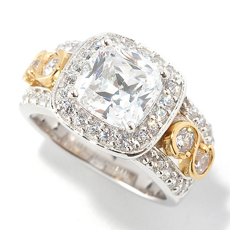 126-601 - Brilliante® 3.48 DEW Two-Tone Cushion Cut Simulated Diamond Halo Ring