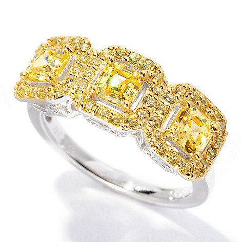 126-606 - Brilliante® 1.65 DEW Two-tone Canary Asscher Cut Simulated Diamond Three-Stone Ring