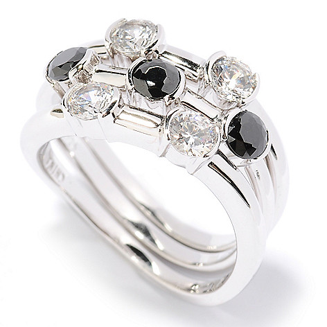 126-607 - Brilliante® Platinum Embraced™ 1.19 DEW Simulated Diamond Stack Rings