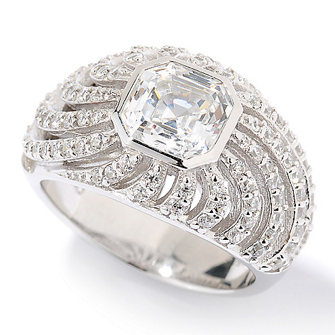 126-611 - Brilliante® Platinum Embraced™ 2.62 Dew Asscher Cut Simulated Diamond Domed Sunburst Ring