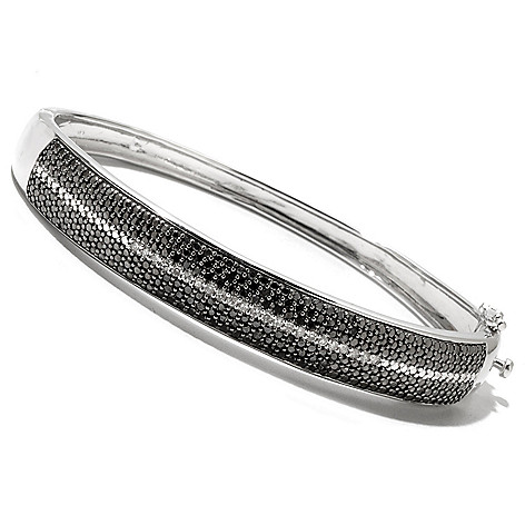 126-628 - Diamond Treasures Sterling Silver 1.00ctw Black & White Diamond Bangle Bracelet