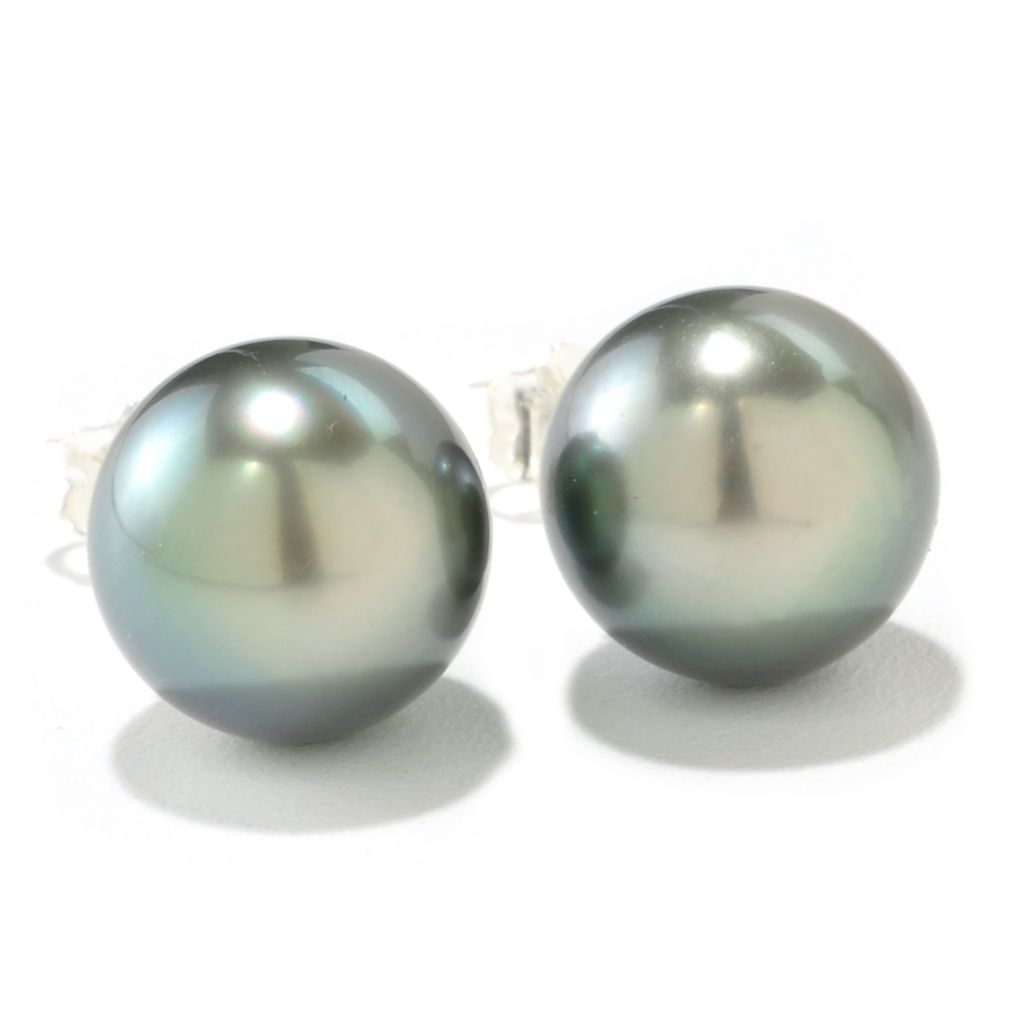 126-634 - Sterling Silver 9-10mm Semi-Round Cultured Pearl Stud Earrings