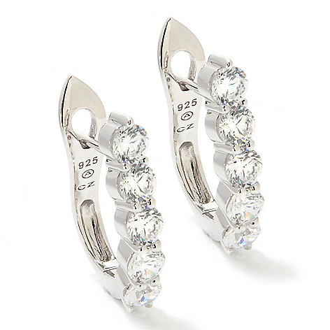 126-641 - Brilliante® Platinum Embraced™ 2.40 DEW Simulated Diamond Huggie Hoop Earrings