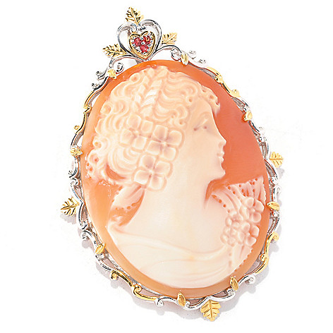 126-663 - Gems en Vogue II 50 x 38mm Carved Shell Cameo & Orange Sapphire Pin / Pendant