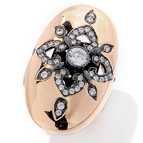 126-665 - Sonia Bitton Two-tone Round Cut Oval Shaped Simulated Diamond Flower Ring