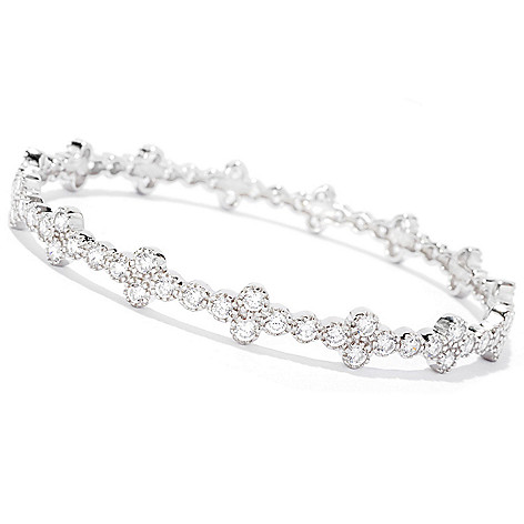 126-668 - Sonia Bitton Round Cut Simulated Diamond Milgrain Slip-on Bangle Bracelet