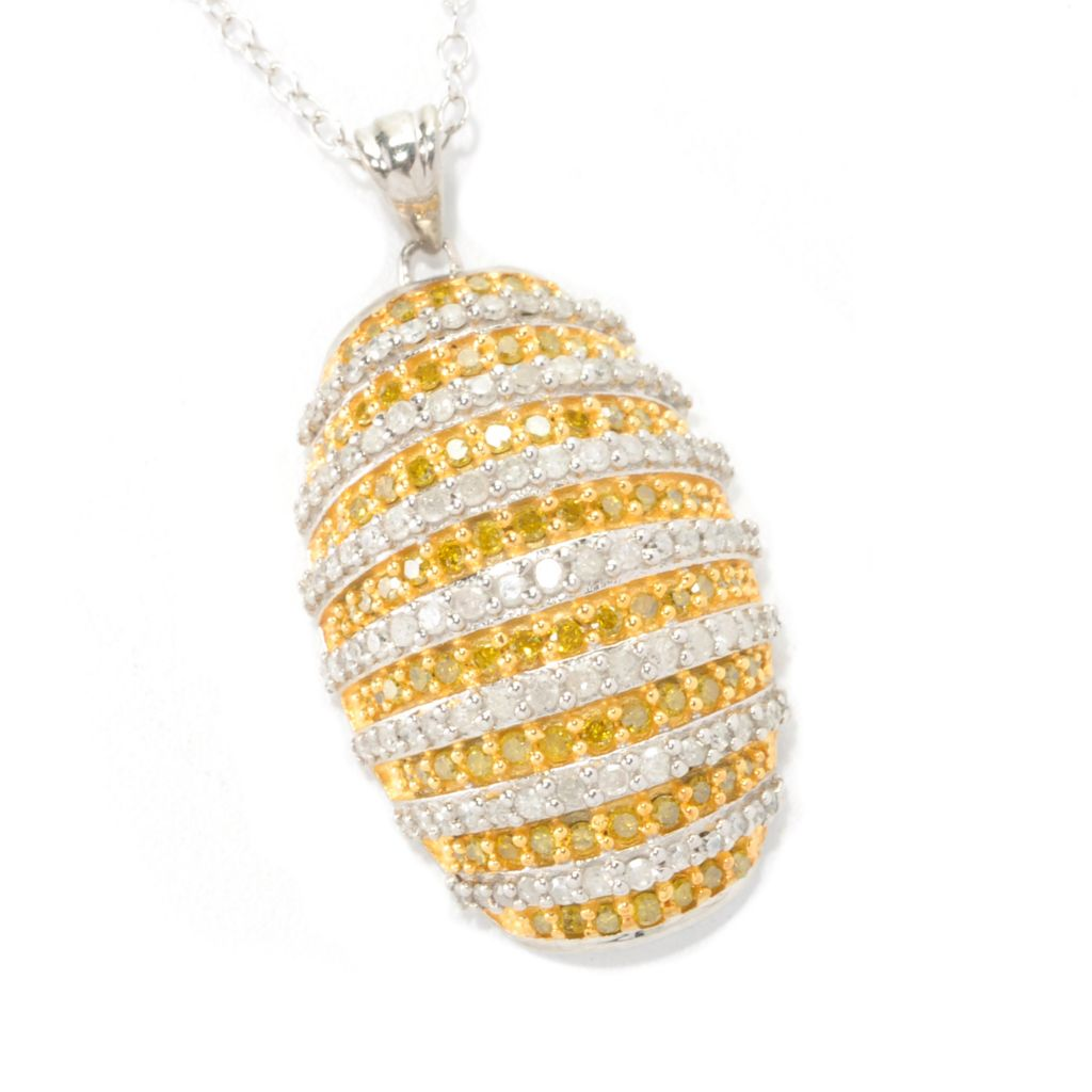 126-671 - Diamond Treasures Sterling Silver 1.00ctw Diamond Striped Pendant w/ Chain