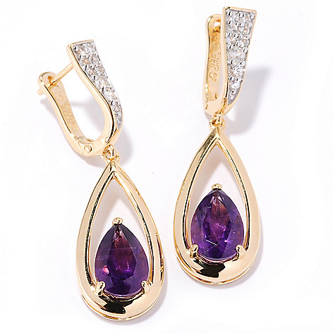 126-678 - Omar Torres 3.65ctw Gemstone & White Sapphire ''Raindrop'' Earrings