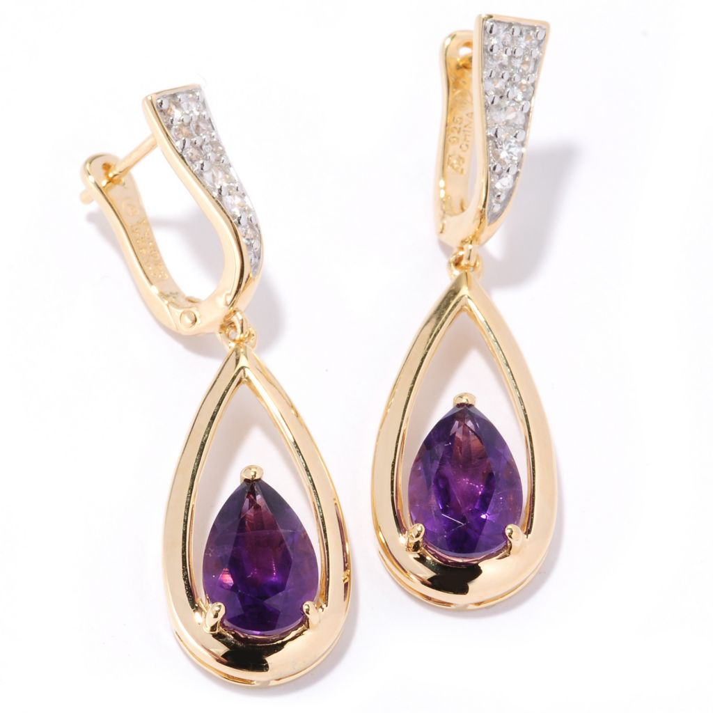 "126-678 - Omar Torres 3.65ctw Gemstone & White Sapphire ""Raindrop"" Earrings"
