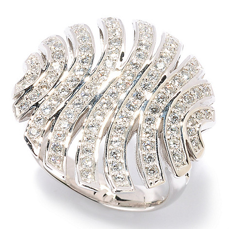 126-693 - Sonia Bitton Round Cut Pave Set Polished Simulated Diamond Striped Ring