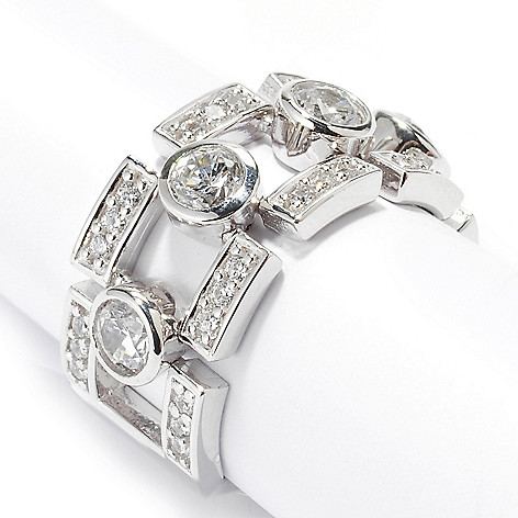 126-697 - Sonia Bitton 1.61 DEW Round Cut Link Simulated Diamond Flex Ring