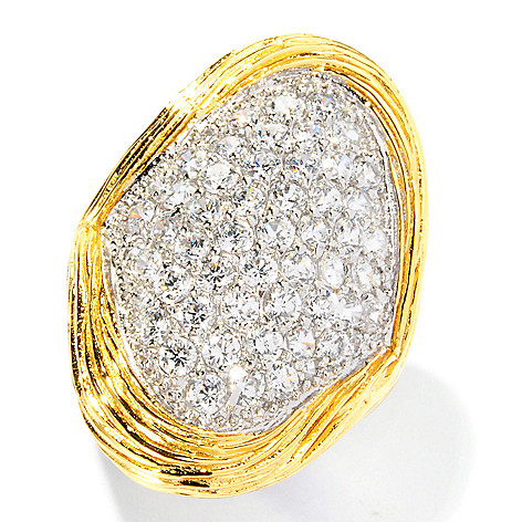126-700 - Sonia Bitton Two-Tone 2.06 DEW Pave Set Textured Simulated Diamond Elongated Ring