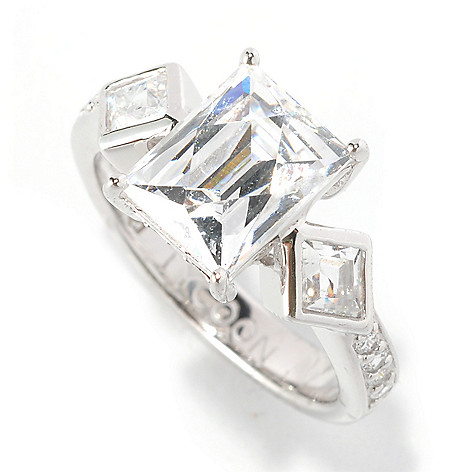126-710 - TYCOON Platinum Embraced™ 3.19 DEW Rectangle Step Cut Simulated Diamond Ring