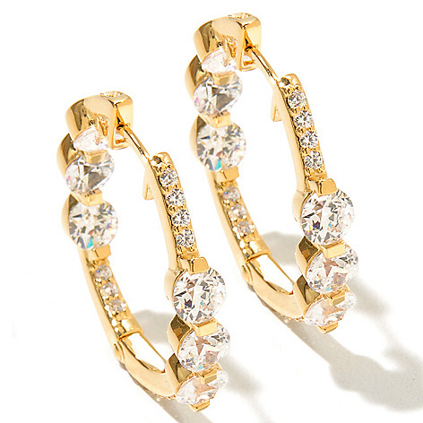 126-713 - TYCOON 4.75 DEW Round Cut Simulated Diamond Inside-out Hoop Earrings