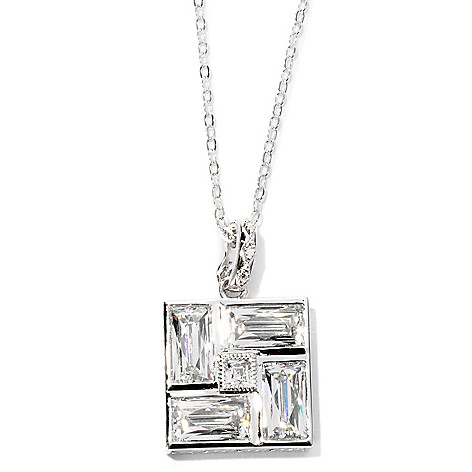 126-717 - TYCOON Platinum Embraced™ 9.16 DEW Square Simulated Diamond Pendant w/ Chain