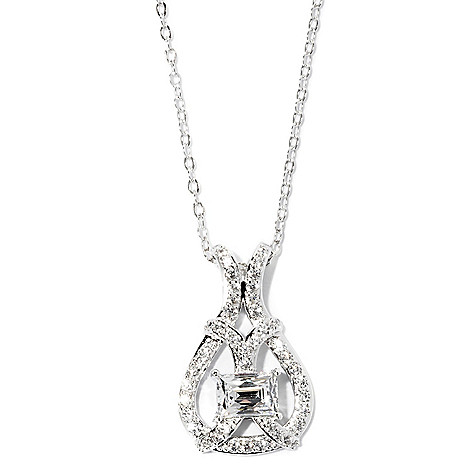126-718 - TYCOON Platinum Embraced™ 1.77 DEW Simulated Diamond Teardrop Shaped Pendant