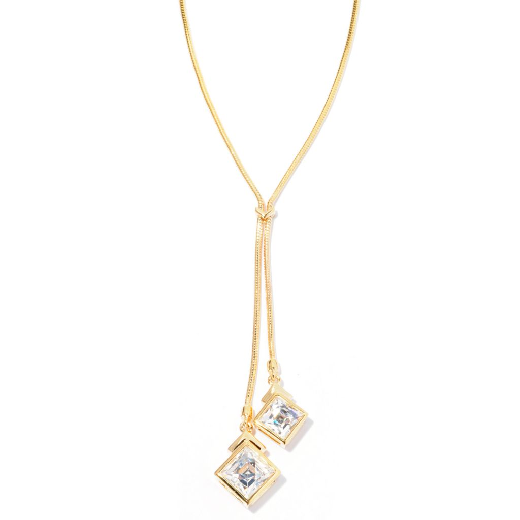 "126-720 - TYCOON 18"" 3.22 DEW Square Cut Simulated Diamond Drop Necklace"